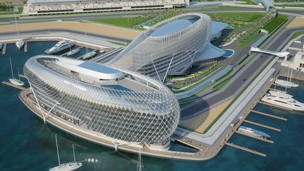 Landscaping the Formula One racetrack in Abu Dhabi
